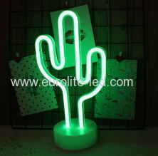 Led Neon Cactus Night Light Fevistal Holiday Decration Light