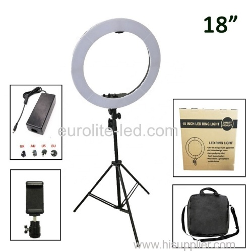 euroliteLED 50W 18inch Ring light Photography Ring Lamp Makeup LED with Stand Hot Shoe for Camera and Smart Phone