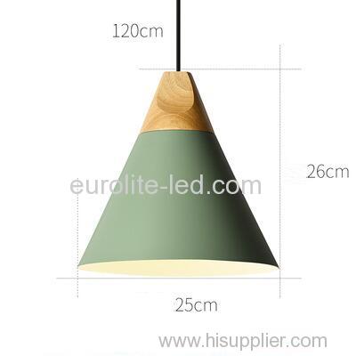 euroliteLED 9W Green Nordic Individual Solid Wood Single-Head Small Chandelier Creative Dining Room