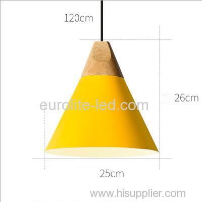 euroliteLED 9W Yellow Nordic Individual Solid Wood Single-Head Small Chandelier Creative Dining Room