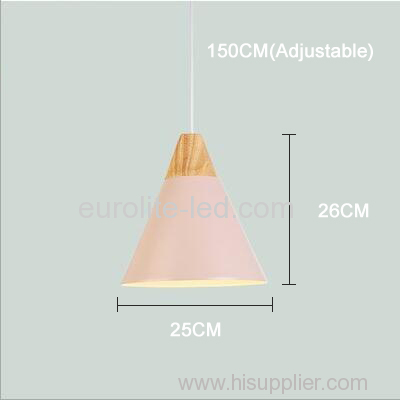 euroliteLED 9W Pink Nordic Individual Solid Wood Single-Head Small Chandelier Creative Dining Room