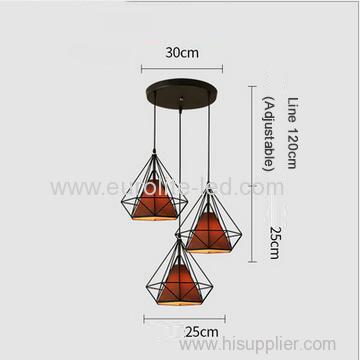 euroliteLED Brown Chandelier-Iron Art 3 Holder Chandelier Nordic Ceiling Lights Bedroom Restaurant Illumination