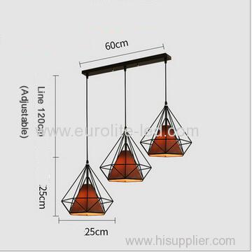 euroliteLED Brown LED Chandelier Iron Art 3 Holder Chandelier Nordic Ceiling Lights Bedroom Restaurant Illumination