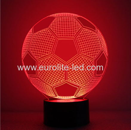 Led Acrylic Soccer 3D Colours Kids Gift Room Decration Night Light