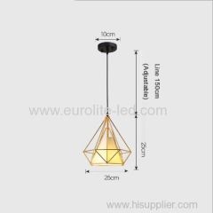 euroliteLED 12W 25cm Iron Art Chandelier Nordic Creative Living Room Lights Bedroom Restaurant Illumination