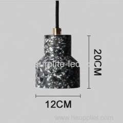 euroliteLED Black Industrial Retro Style Creative Single Head Chandelier Trendy Modern Design Terrazzo Pendant Light