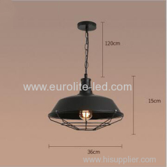 euroliteLED 40W Black S Hat Shape Hanging Lamp Vintage Loft Industrial Ceiling Light Pendant Lamp Iron Hanging Lamp