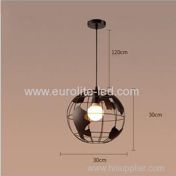 euroliteLED 9W L Industrial Earth Shape Pendant Light LED Ceiling Lamp Vintage Style Wrought Iron Chandelier