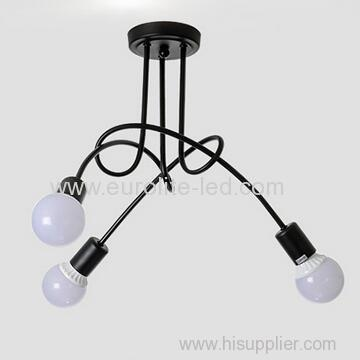 euroliteLED 3Head Black Wrought Iron Ceiling Lamp Creative Personality Spider Chandelier Living Room Bedroom Led Light