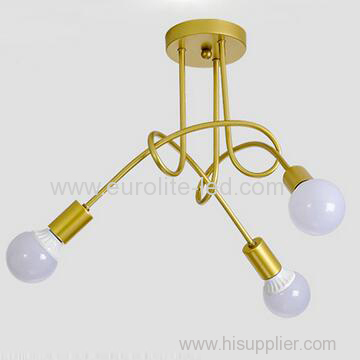 euroliteLED 3Head Gold Wrought Iron Ceiling Lamp Creative Personality Spider Chandelier Living Room Bedroom Led Light