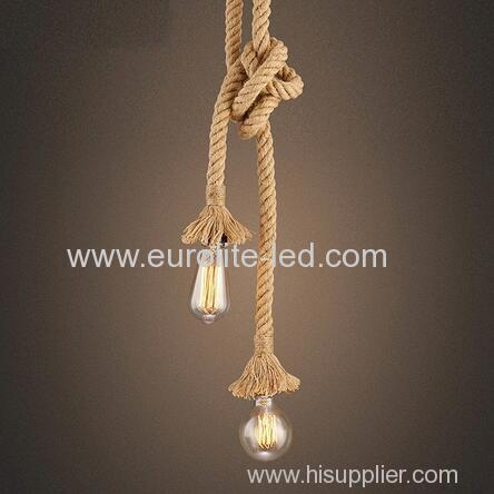 euroliteLED Lighting Retro Two Head Lamp Flax Rope Chandelier Twisted Flaxen Rope Country Style Pendant Lights