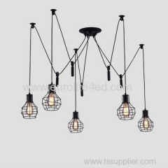 euroliteLED 5 Head Black LED Ceiling Light Creative Pulley