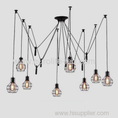 euroliteLED 8 Head Black LED Ceiling Light Creative Pulley