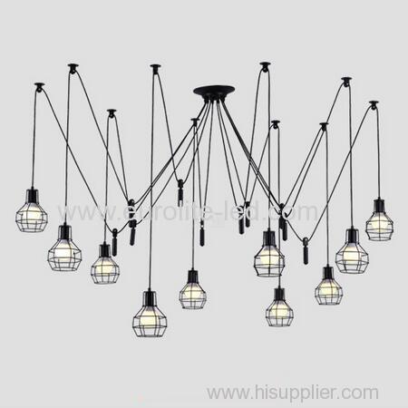 euroliteLED 10 Head Black LED Ceiling Light Creative Pulley