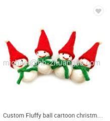 Christmas wool felt handmade DIY Custom Fluffy ball cartoon new year festival hanging pendant children hair pendant acc