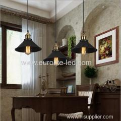 euroliteLED Wrought Iron Small Chandelier Retro Vintage Industrial Pendant Light with Hat Shape Iron
