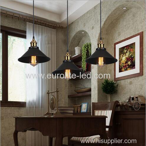 euroliteLED Wrought Iron Small Chandelier Retro Vintage Industrial Pendant Light with Hat Shape Iron