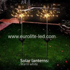 Led Solar Powered Firework Explode Holiday Courtyard Decoration Pin Lamp
