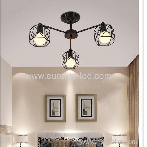 euroliteLED 3 Lights Vintage Chandeliers Multiple Rod Wrought Iron Ceiling Lamp E27 Bulb for Home Lighting Fixtures