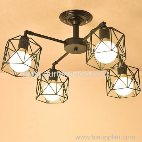 euroliteLED 4 Lights Vintage Chandeliers Multiple Rod Wrought Iron Ceiling Lamp E27 Bulb for Home Lighting Fixtures