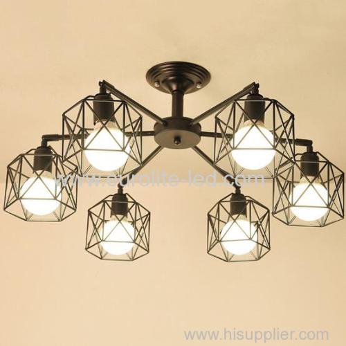 euroliteLED 6 Lights Vintage Chandeliers Multiple Rod Wrought Iron Ceiling Lamp E27 Bulb for Home Lighting Fixtures