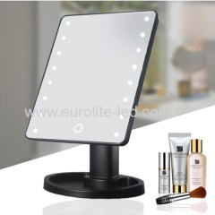 Led Cosmetic Mirror 16 LED Touch Storage Desktop Rotation Mirror Light