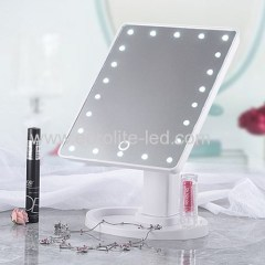 Led Cosmetic Mirror 22 LED Touch Storage Desktop Rotation Mirror Light