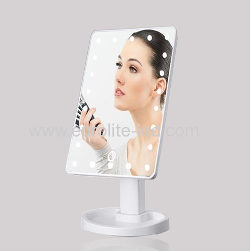 Led Cosmetic Mirror 22 LED USB Touch Storage Desktop Rotation Mirror Light