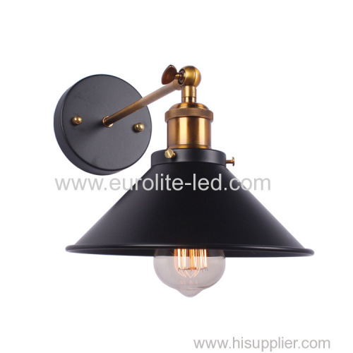euroliteLED Vintage Loft Black E27 Aluminum lamp Holder Wall Lamp Plated Iron Retro Industrial Home Light Study Lamp