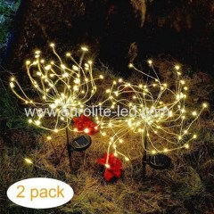 Led Solar Powered 120 Leds Firework Explode Holiday Courtyard Decoration Pin Lamp