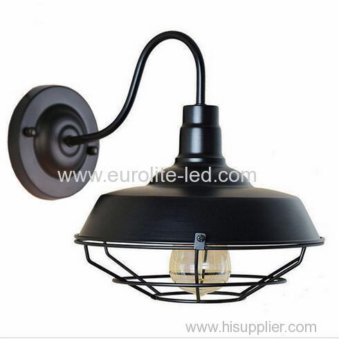 euroliteLED Black 1-Light Industrial Wall Sconces with Metal Shade Retro Rustic Loft Antique Wall Lamp