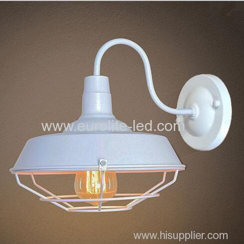 euroliteLED White 1-Light Industrial Wall Sconces with Metal Shade Retro Rustic Loft Antique Wall Lamp