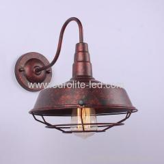 euroliteLED Rust Color 1-Light Industrial Wall Sconces with Metal Shade Retro Rustic Loft Antique Wall Lamp