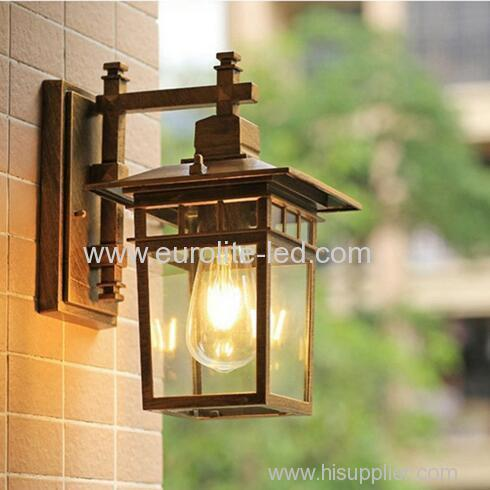 euroliteLED Bronze Outdoor Wall Sconce Wall Mounted Light Single Light Exterior Wall Lantern with Clear Glass