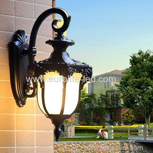 euroliteLED Black Waterproof Outdoor Wall Light Antique Aluminum Metal Gate External Glass Lantern Wall Sconce