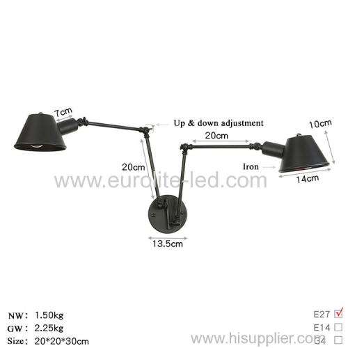 euroliteLED Wall Sconce Swing Arm Angle Adjustable Swing Arm Retro Vintage Wall Mount Light Sconces Wall Lamp(Model 5)