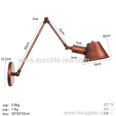 euroliteLED Wall Sconce Swing Arm Angle Adjustable Swing Arm Retro Vintage Wall Mount Light Sconces Wall Lamp(Model 9)