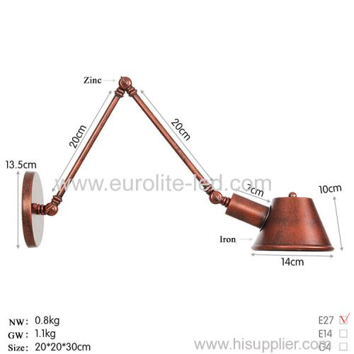 euroliteLED Wall Sconce Swing Arm Angle Adjustable Swing Arm Retro Vintage Wall Mount Light Sconces Wall Lamp(Model 10)