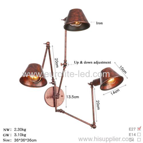 euroliteLED Wall Sconce Swing Arm Angle Adjustable Swing Arm Retro Vintage Wall Mount Light Sconces Wall Lamp(Model 16)