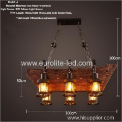 euroliteLED Novely Pendant Light Iron Glass Wood LOFT Retro Industrial Chandeliers(Ship Shape)