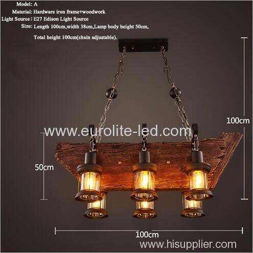 euroliteLED Novely Pendant Light Iron Glass Wood LOFT Retro Industrial Chandeliers(Ship Shape)