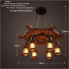 euroliteLED Novely Pendant Light Iron Glass Wood LOFT Retro Industrial Chandeliers(Rudder Shape)