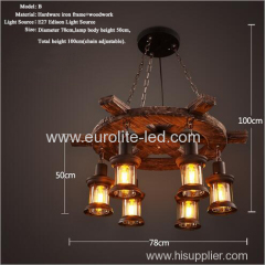 euroliteLED Novely Pendant Light Iron Glass Wood LOFT Retro Industrial Chandeliers(Rudder Shape)