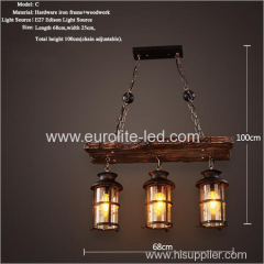 euroliteLED Novely Pendant Light Iron Glass Wood LOFT Retro Industrial Chandeliers(Board Shape)