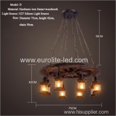 euroliteLED Novely Pendant Light Iron Glass Wood LOFT Retro Industrial Chandeliers(Wheel Shape)