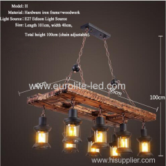 euroliteLED Novely Pendant Light Iron Glass Wood LOFT Retro Industrial Chandeliers(Ladder Shape)