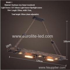 euroliteLED Novely Pendant Light Iron Glass Wood LOFT Retro Industrial Chandeliers(Alcatraz Chandelier)