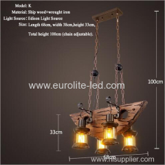 euroliteLED Novely Pendant Light Iron Glass Wood LOFT Retro Industrial Chandeliers(Semicircle Shape)