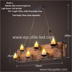 euroliteLED Novely Pendant Light Iron Glass Wood LOFT Retro Industrial Chandeliers(Candle chandelier)