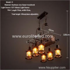 euroliteLED Novely Pendant Light Iron Glass Wood LOFT Retro Industrial Chandeliers(Stripe)